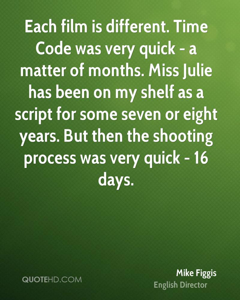 Each film is different. Time Code was very quick - a matter of months. Miss Julie has been on my shelf as a script for some seven or eight years. But then the shooting process was very quick - 16 days.