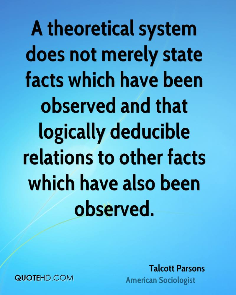 A theoretical system does not merely state facts which have been observed and that logically deducible relations to other facts which have also been observed.
