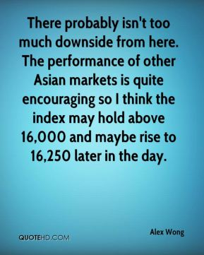 Alex Wong - There probably isn't too much downside from here. The performance of other Asian markets is quite encouraging so I think the index may hold above 16,000 and maybe rise to 16,250 later in the day.