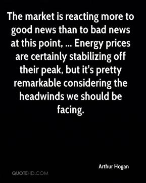Arthur Hogan - The market is reacting more to good news than to bad news at this point, ... Energy prices are certainly stabilizing off their peak, but it's pretty remarkable considering the headwinds we should be facing.