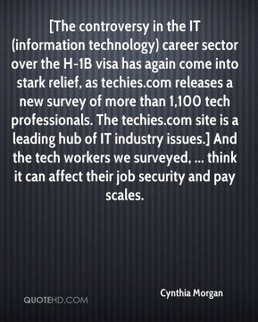 Cynthia Morgan - [The controversy in the IT (information technology) career sector over the H-1B visa has again come into stark relief, as techies.com releases a new survey of more than 1,100 tech professionals. The techies.com site is a leading hub of IT industry issues.] And the tech workers we surveyed, ... think it can affect their job security and pay scales.
