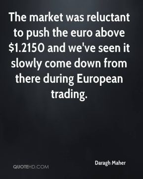 The market was reluctant to push the euro above $1.2150 and we've seen it slowly come down from there during European trading.