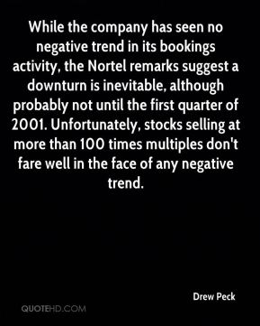 Drew Peck - While the company has seen no negative trend in its bookings activity, the Nortel remarks suggest a downturn is inevitable, although probably not until the first quarter of 2001. Unfortunately, stocks selling at more than 100 times multiples don't fare well in the face of any negative trend.