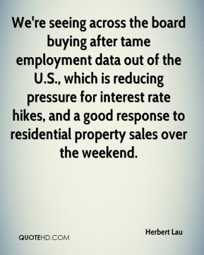 Herbert Lau - We're seeing across the board buying after tame employment data out of the U.S., which is reducing pressure for interest rate hikes, and a good response to residential property sales over the weekend.