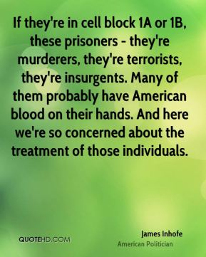 If they're in cell block 1A or 1B, these prisoners - they're murderers, they're terrorists, they're insurgents. Many of them probably have American blood on their hands. And here we're so concerned about the treatment of those individuals.
