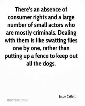 Jason Catlett - There's an absence of consumer rights and a large number of small actors who are mostly criminals. Dealing with them is like swatting flies one by one, rather than putting up a fence to keep out all the dogs.