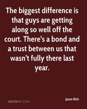 The biggest difference is that guys are getting along so well off the court. There's a bond and a trust between us that wasn't fully there last year.