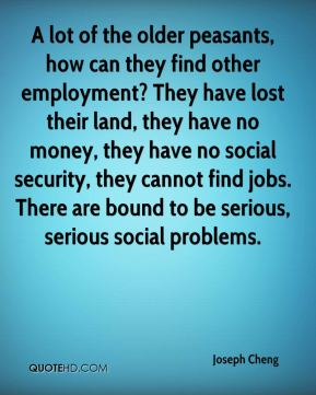 Joseph Cheng  - A lot of the older peasants, how can they find other employment? They have lost their land, they have no money, they have no social security, they cannot find jobs. There are bound to be serious, serious social problems.