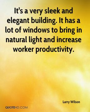 It's a very sleek and elegant building. It has a lot of windows to bring in natural light and increase worker productivity.