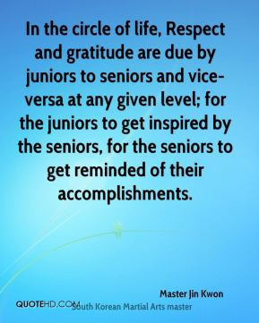 In the circle of life, Respect and gratitude are due by juniors to seniors and vice-versa at any given level; for the juniors to get inspired by the seniors, for the seniors to get reminded of their accomplishments.