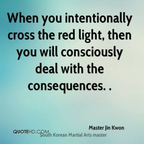 Master Jin Kwon  - When you intentionally cross the red light, then you will consciously deal with the consequences. .
