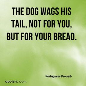 Portuguese Proverb  - The dog wags his tail, not for you, but for your bread.
