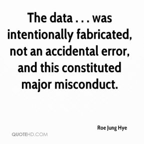 Roe Jung Hye  - The data . . . was intentionally fabricated, not an accidental error, and this constituted major misconduct.