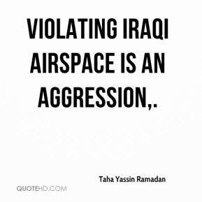 Taha Yassin Ramadan  - Violating Iraqi airspace is an aggression.