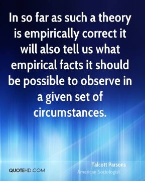 In so far as such a theory is empirically correct it will also tell us what empirical facts it should be possible to observe in a given set of circumstances.