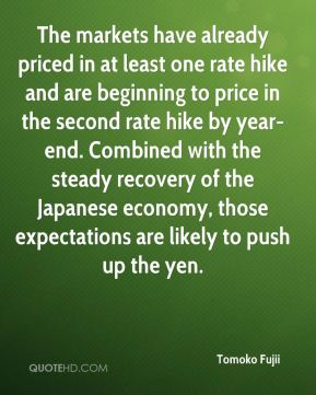 The markets have already priced in at least one rate hike and are beginning to price in the second rate hike by year-end. Combined with the steady recovery of the Japanese economy, those expectations are likely to push up the yen.