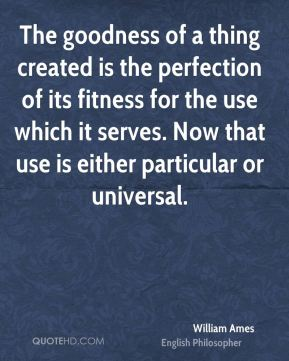 William Ames - The goodness of a thing created is the perfection of its fitness for the use which it serves. Now that use is either particular or universal.