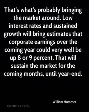 That's what's probably bringing the market around. Low interest rates and sustained growth will bring estimates that corporate earnings over the coming year could very well be up 8 or 9 percent. That will sustain the market for the coming months, until year-end.