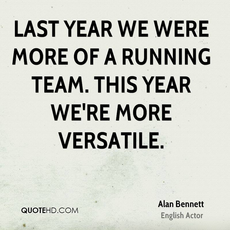 Last year we were more of a running team. This year we're more versatile.