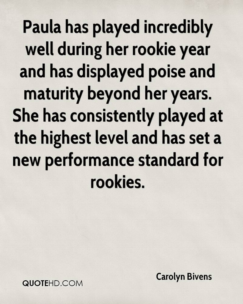 Paula has played incredibly well during her rookie year and has displayed poise and maturity beyond her years. She has consistently played at the highest level and has set a new performance standard for rookies.