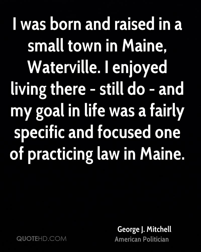 I was born and raised in a small town in Maine, Waterville. I enjoyed living there - still do - and my goal in life was a fairly specific and focused one of practicing law in Maine.