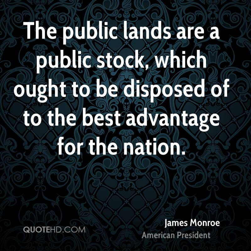 The public lands are a public stock, which ought to be disposed of to the best advantage for the nation.