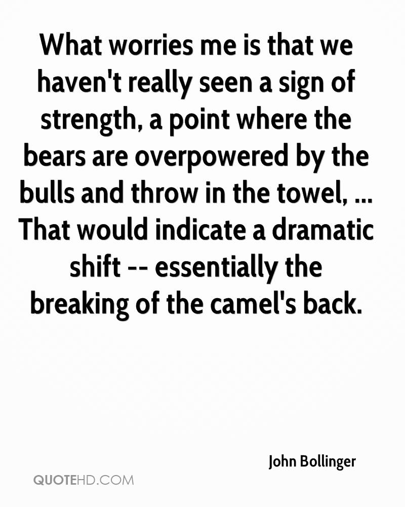 What worries me is that we haven't really seen a sign of strength, a point where the bears are overpowered by the bulls and throw in the towel, ... That would indicate a dramatic shift -- essentially the breaking of the camel's back.