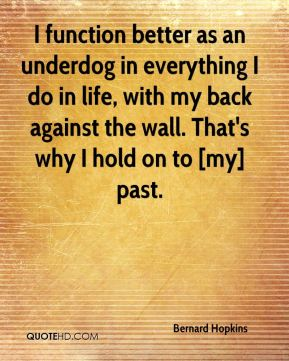 Bernard Hopkins - I function better as an underdog in everything I do in life, with my back against the wall. That's why I hold on to [my] past.