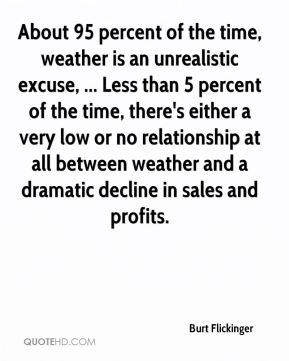 Burt Flickinger - About 95 percent of the time, weather is an unrealistic excuse, ... Less than 5 percent of the time, there's either a very low or no relationship at all between weather and a dramatic decline in sales and profits.