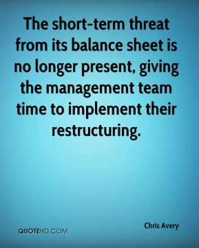 The short-term threat from its balance sheet is no longer present, giving the management team time to implement their restructuring.