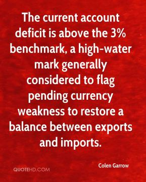 The current account deficit is above the 3% benchmark, a high-water mark generally considered to flag pending currency weakness to restore a balance between exports and imports.