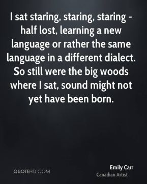 I sat staring, staring, staring - half lost, learning a new language or rather the same language in a different dialect. So still were the big woods where I sat, sound might not yet have been born.
