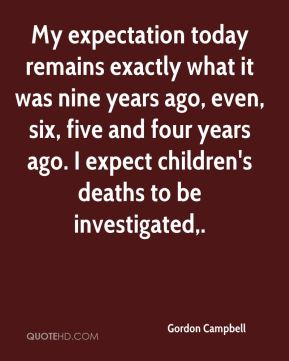 Gordon Campbell - My expectation today remains exactly what it was nine years ago, even, six, five and four years ago. I expect children's deaths to be investigated.