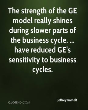 Jeffrey Immelt  - The strength of the GE model really shines during slower parts of the business cycle, ... have reduced GE's sensitivity to business cycles.