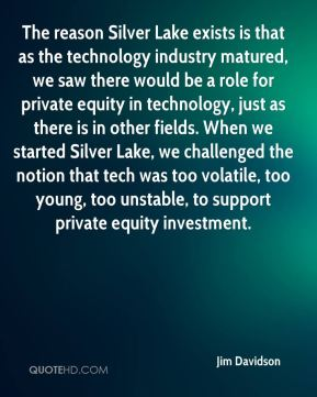 The reason Silver Lake exists is that as the technology industry matured, we saw there would be a role for private equity in technology, just as there is in other fields. When we started Silver Lake, we challenged the notion that tech was too volatile, too young, too unstable, to support private equity investment.