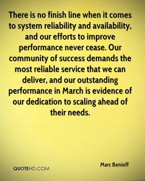 Marc Benioff  - There is no finish line when it comes to system reliability and availability, and our efforts to improve performance never cease. Our community of success demands the most reliable service that we can deliver, and our outstanding performance in March is evidence of our dedication to scaling ahead of their needs.