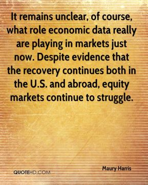 Maury Harris  - It remains unclear, of course, what role economic data really are playing in markets just now. Despite evidence that the recovery continues both in the U.S. and abroad, equity markets continue to struggle.