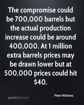Peter Hitchens  - The compromise could be 700,000 barrels but the actual production increase could be around 400,000. At 1 million extra barrels prices may be drawn lower but at 500,000 prices could hit $40.