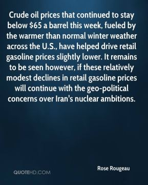 Rose Rougeau  - Crude oil prices that continued to stay below $65 a barrel this week, fueled by the warmer than normal winter weather across the U.S., have helped drive retail gasoline prices slightly lower. It remains to be seen however, if these relatively modest declines in retail gasoline prices will continue with the geo-political concerns over Iran's nuclear ambitions.