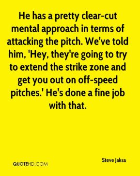 Steve Jaksa  - He has a pretty clear-cut mental approach in terms of attacking the pitch. We've told him, 'Hey, they're going to try to extend the strike zone and get you out on off-speed pitches.' He's done a fine job with that.
