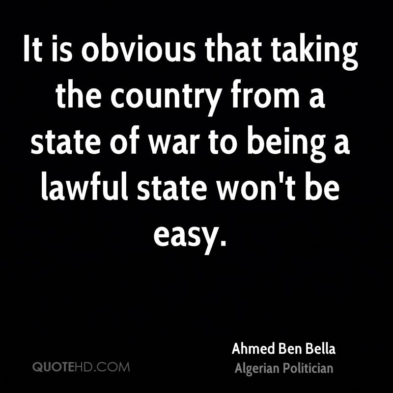 It is obvious that taking the country from a state of war to being a lawful state won't be easy.