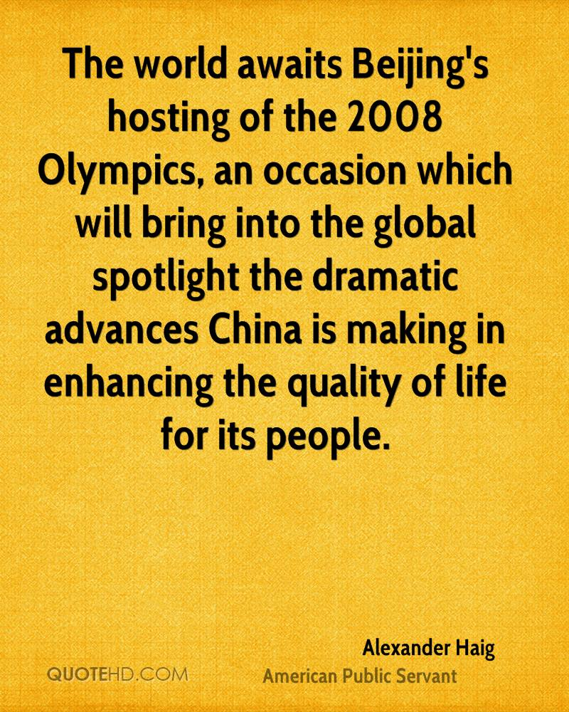 The world awaits Beijing's hosting of the 2008 Olympics, an occasion which will bring into the global spotlight the dramatic advances China is making in enhancing the quality of life for its people.