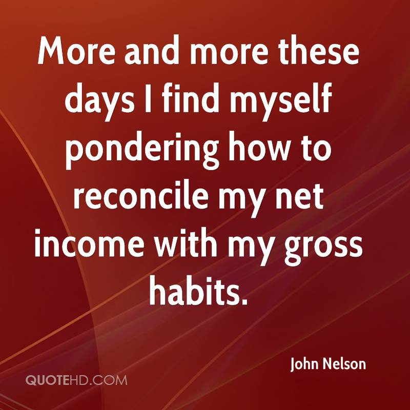 More and more these days I find myself pondering how to reconcile my net income with my gross habits.