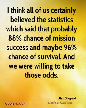 Alan Shepard - I think all of us certainly believed the statistics which said that probably 88% chance of mission success and maybe 96% chance of survival. And we were willing to take those odds.