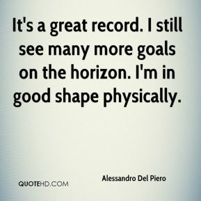 It's a great record. I still see many more goals on the horizon. I'm in good shape physically.