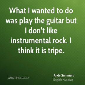 What I wanted to do was play the guitar but I don't like instrumental rock. I think it is tripe.