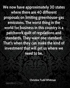Christine Todd Whitman - We now have approximately 30 states where there are 40 different proposals on limiting greenhouse-gas emissions. The worst thing in the world for business in this country is a patchwork quilt of regulations and standards. They want one standard. That's when they can make the kind of investment that will get us where we need to be.