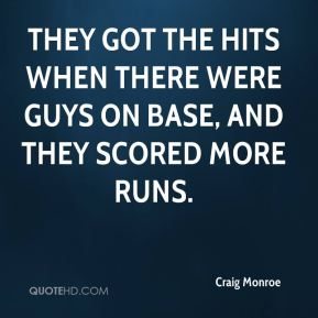 Craig Monroe - They got the hits when there were guys on base, and they scored more runs.