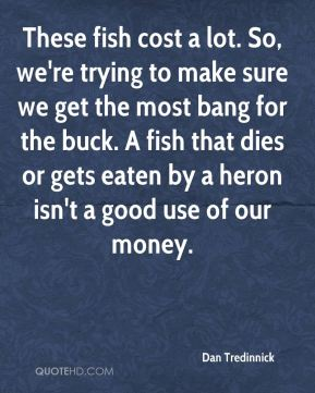 Dan Tredinnick - These fish cost a lot. So, we're trying to make sure we get the most bang for the buck. A fish that dies or gets eaten by a heron isn't a good use of our money.