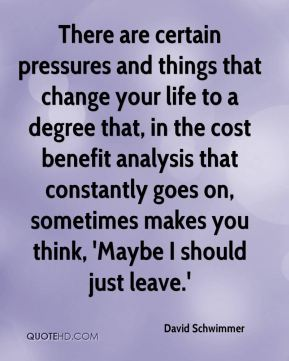 David Schwimmer - There are certain pressures and things that change your life to a degree that, in the cost benefit analysis that constantly goes on, sometimes makes you think, 'Maybe I should just leave.'
